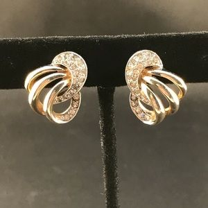Vintage clip earrings gold with pave rhinestones